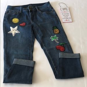 NY & Company Sequin Patch Boyfriend Jeans